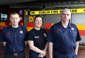 Firefighters Philip Evans, Teresa Hudson and Paul Lavelle, who attended the delivery of a baby girl at The Nutgrove Fire Station, Rathfarnham last night. PIC BY COLIN O'RIORDAN