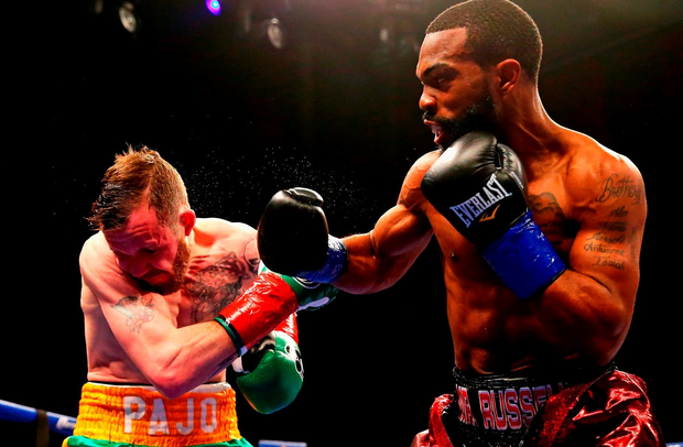 MASHANTUCKET, CT - APRIL 16: Gary Russell Jr. knocks out Patrick Hyland during their WBC World Featherweight Championship bout at Foxwoods Resort Casino on April 16, 2016 in Mashantucket, Connecticut. (Photo by Maddie Meyer/Getty Images)