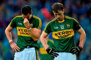 Kerry's Donnchadh Walsh, right, and Anthony Maher, following their side's loss. GAA Football All-Ireland Senior Championship Final, Dublin v Kerry, Croke Park, Dublin. Picture credit: Ramsey Cardy / SPORTSFILE