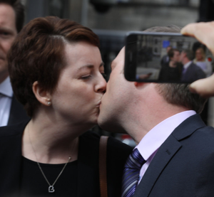 Smear test ruling: Ruth and Paul Morrissey share a kiss outside the High Court after the judgment. Photo: Collins