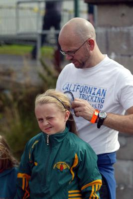 Hollyanne Smith from Co. Kerry preparing before her MIxed U10 Relay while her Dad Eamon gives her hair a final brushing at HSE Community Games in AIT Athlone. Photo molloyphotography