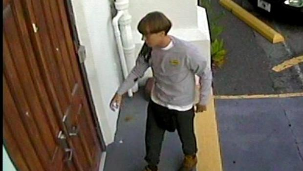 CCTV footage shows Dylann Roof entering the Emanuel African Methodist Episcopal Church in Charleston Photo: Reuters