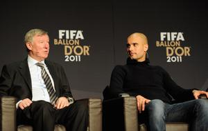 ZURICH, SWITZERLAND - JANUARY 09:  Manchester United team coach Sir Alex Ferguson and Barcelona team coach Pep Guardiola during the World Coach of the Year for Men's football nominees press conference during the FIFA Ballon d'Or Gala 2011 at the Kongresshaus on January 09, 2012 in Zurich, Switzerland.  (Photo by Stuart Franklin - FIFA/FIFA via Getty Images)