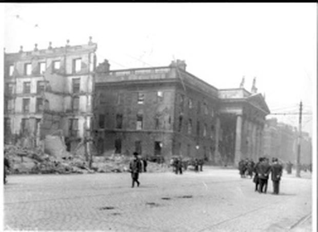 Picture shows the damage done to O'Connell Street