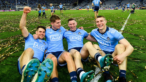 Dublin players, from left, Kevin McManamon, Michael Fitzsimons, Philly McMahon and John Small. Picture: Sportsfile
