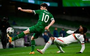 Ireland's Robbie Brady in action with Cicinho of Bulgaria. Photo: Sportsfile