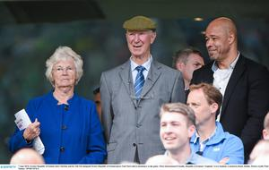 Jack Charlton and his wife Pat alongside former Republic of Ireland player Paul McGrath in attendance at England friendly in 2015