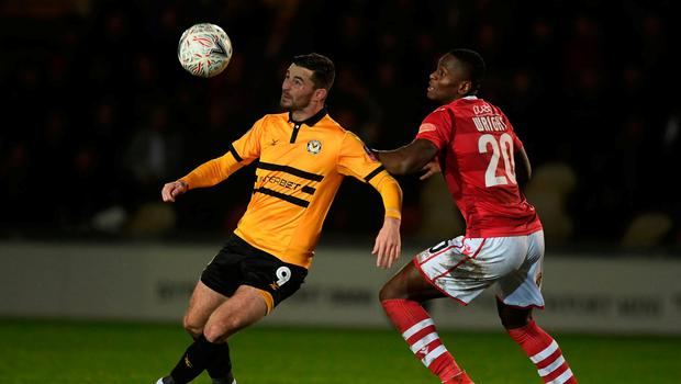 Padraig Amond in action against Wrexham during FA Cup second round replay. Photo: Harry Trump/Getty Images