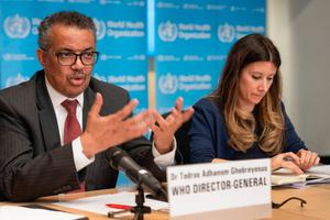World Health Organization Director-General Tedros Adhanom Ghebreyesus (L) speaking next to WHO Technical Lead Maria Van Kerkhove during a press briefing on the novel coronavirus (COVID-19) virus at the WHO headquaters in Geneva. Photo: Christopher Black/World Health Organization/AFP via Getty Images