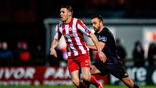 Garry Buckley of Sligo Rovers in action against Robbie Benson of St Patrick's Athletic. Photo by Ben McShane/Sportsfile