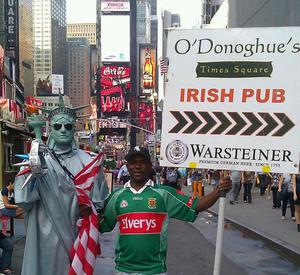 Who needs the Naked Cowboy when you have Mamadu, Mayo's biggest supporter in Times Square! Dressed by Ballyhaunis native, Helen Moran