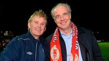 Garrett Kelleher with former manager Liam Buckley. Photo: David Maher/SPORTSFILE