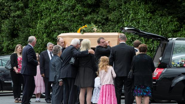 The remains of Lorcan Miller are brought to Rathmichael parish Church for his funeral mass this morning Pic:Mark Condren