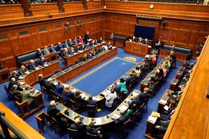 A general view of the Northern Ireland Executive Assembly sitting in their chamber room as the power sharing executive returned to power for the first time in three years. Photo: Kelvin Boyes/Getty Images