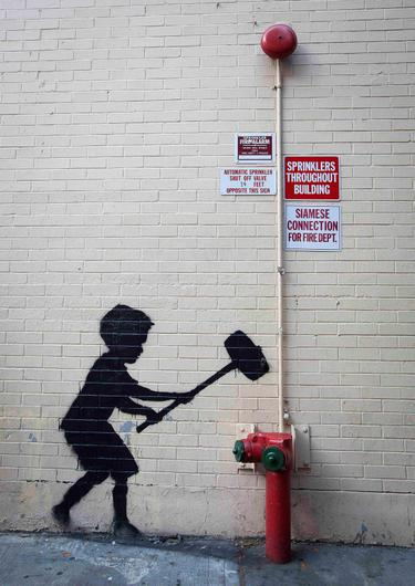 A new installation of British graffiti artist Banksy's art is pictured in New York