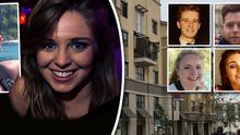 Clodagh Cogley, left, has expressed her thanks to Jack Halpin, inset left, whom she says grabbed her, helping break her fall, when the balcony collapsed. Inset right: The six students who lost their lives in the tragic accident, top left to bottom right: Lorcan Miller, Eoghan Culligan, Nick Schuster, Ashley Donohoe, Eimear Walsh and Olivia Burke
