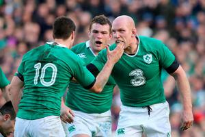 Ireland's Paul O'Connell and Johnny Sexton (left) celebrate during the RBS Six Nations match at the Aviva Stadium