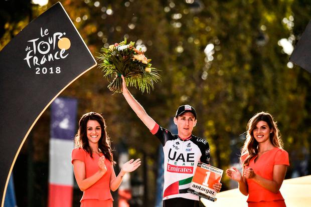 Ireland's Daniel Martin, who finished eighth overall, was on the podium in Paris yesterday to receive his prize for being the Tour de France's most aggressive rider. Photo: Getty Images