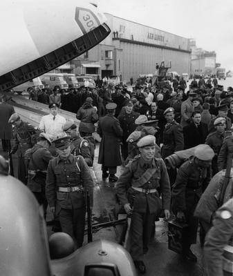 January 16th, 1961: Irish troops at Dublin Airport, returning home from fighting in the Congo. Photo by Keystone/Getty Images