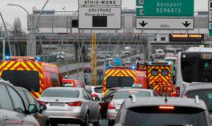 Emergency vehicles arrive Orly airport southern terminal in Paris, France March 18, 2016.  REUTERS/Christian Hartmann