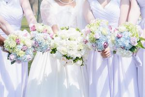 Bride and bridemaids side by side holding flower bouquets