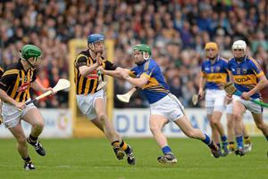 Tipperary's Noel McGrath tries to get through the Kilkenny defence during last year's Allianz NHL Division 1 final
