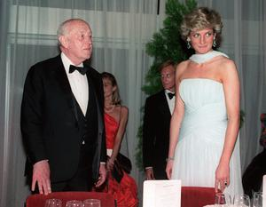 Alec Guinness and Princess Diana at a gala dinner at the 40th Cannes film festival on the French riviera in 1987