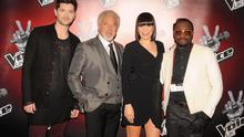 File photo dated 11/03/13 of (left to right) Coaches Danny O'Donoghue, Sir Tom Jones, Jessie J and will.i.am at the launch of latest series for the BBC talent show, The Voice, at the Soho Hotel in London.