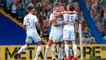 "Leeds United's Liam Cooper (centre) celebrates scoring his side's third goal of the game with teammates during the Sky Bet Championship match at Elland Road, Leeds. PA Photo. Issue date: Thursday July 9, 2020. See PA story SOCCER Leeds. Photo credit should read: Mike Egerton/PA Wire. RESTRICTIONS: EDITORIAL USE ONLY No use with unauthorised audio, video, data, fixture lists, club/league logos or ""live"" services. Online in-match use limited to 120 images, no video emulation. No use in betting, games or single club/league/player publications."