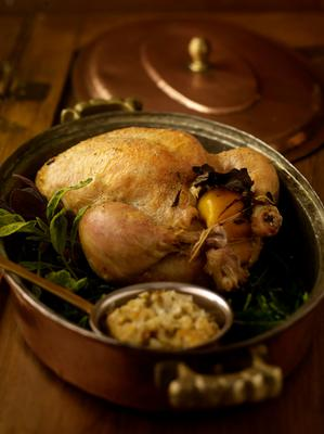 Roast Chicken with Oat & Sausage meat stuffing