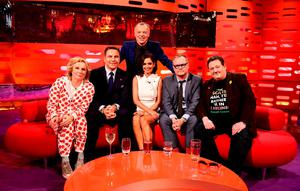 Jennifer Saunders, David Walliams, Graham Norton, Cheryl Fernandez-Versini, Jack Dee and Johnny Vegas during filming of the Graham Norton Show at the London Studios, in central London. Picture: Ian West/PA Wire