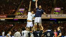Courtney Lawes of England and James Hamilton of Scotland go up for the line out ball during the RBS Six Nations match between Scotland and England in February