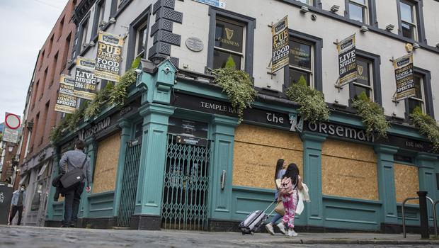 The Norseman pub in Temple bar, which remains boarded up since March. Photo: Arthur Carron