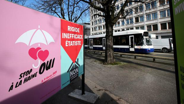 A poster in favour of the change of the penal code is pictured ahead of a referendum on anti-homophobia law in Geneva, Switzerland. Photo: Denis Balibouse/Reuters