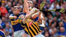 Kilkenny's Richie Power and TJ Reid contest a high ball with Paddy Stapleton and Padraic Maher of Tipperary during the All-Ireland hurling final at Croke Park. Photo: Brendan Moran / SPORTSFILE