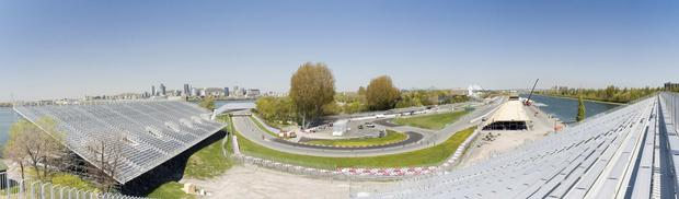 Panoramic view of the Gilles Villeneuve raceway in Montreal