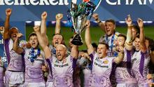 Exeter Chiefs players lift the 2020 Champions Cup trophy. Photo: Reuters