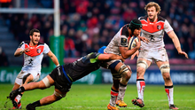 Thierry Dusautoir of Toulouse is tackled by Nepia Fox-Matamua of Connacht during yesterday's Champions Cup clash at Stade Ernest Wallon. Photo by Stephen McCarthy/Sportsfile