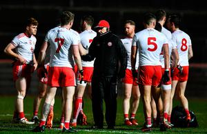 Tyrone manager Mickey Harte talks to his players before the Allianz League match against Dublin recently