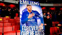 Cardiff City fans in the stands with a banner reading 'Emiliano Forever in our hearts' during the Premier League match at the Emirates Stadium, London. Nick Potts/PA Wire