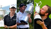 Left to right, Rory McIlroy with his , Pádraig Harrington and Shane Lowry with three of the ten major titles won over 13 years by Irish golfers