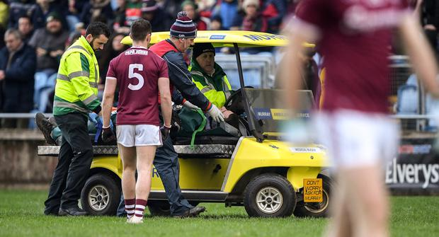 12 January 2020; Fiontán Ó Curraoin of Galway leaves the field on a medical buggy after picking up an injury during the FBD League Semi-Final match between Mayo and Galway at Elverys MacHale Park in Castlebar, Mayo. Photo by Piaras Ó Mídheach/Sportsfile