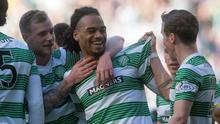Celtic's Jason Denayer celebrates his goal with team mates during the Scottish Championship match at Celtic Park (Jeff Holmes/PA Wire)