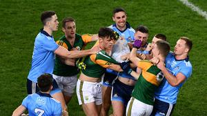 Players from both sides jostle each other after the final whistle had blown at the Allianz Football League Division 1 Round 1 match between Dublin and Kerry at Croke Park in Dublin. Photo by Ray McManus/Sportsfile