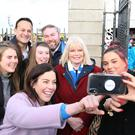 Say cheese: Leo Varadkar with Mary Mitchell O'Connor at a farmers market in Dún Laoghaire. Photo: Stephen Collins/Collins Photos