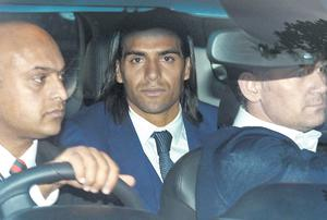 Radamel Falcao arrives at Manchester United's Carrington training ground for a medical prior to him joining the club on a year's loan from Monaco.