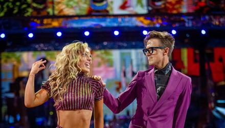 EMBARGOED TO 2120 SATURDAY SEPTEMBER 25 For use in UK, Ireland or Benelux countries only Undated BBC handout photo of Amy Dowden and Tom Fletcher during the dress run for the first episode of Strictly Come Dancing 2021.