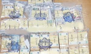 A large quantity of cash found by gardaí