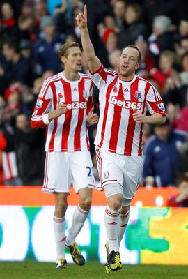 Stoke City's Charlie Adam celebrates scoring