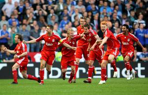 File photo dated 01-05-2007 of Liverpool players celebrate after Daniel Agger scores the first goal of the game (left to right) Boudewijn Zenden, Steven Gerrard, Dirk Kuyt, Peter Crouch, Daniel Agger, John Arne Riise and Jermaine Pennant. Peter Byrne/PA Wire.